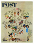 """Family Tree"" Saturday Evening Post Cover, October 24,1959 Giclée-Druck von Norman Rockwell"