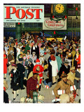 """""""Union Train Station, Chicago, Christmas"""" Saturday Evening Post Cover, December 23,1944 Giclée-Druck von Norman Rockwell"""