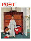 """Truth about Santa"" or ""Discovery"" Saturday Evening Post Cover, December 29,1956 Lámina giclée por Norman Rockwell"