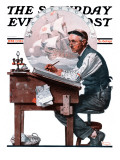 """""""Escape to Adventure"""" Saturday Evening Post Cover, June 7,1924 Giclee Print by Norman Rockwell"""