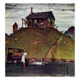 """""""Changing a Flat"""", August 3,1946 Reproduction procédé giclée par Norman Rockwell"""