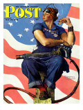 """""""Rosie the Riveter"""" Saturday Evening Post Cover, May 29,1943 Giclée-tryk af Norman Rockwell"""