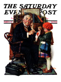 &quot;Doctor and the Doll&quot; Saturday Evening Post Cover, March 9,1929 Reproduction proc&#233;d&#233; gicl&#233;e par Norman Rockwell