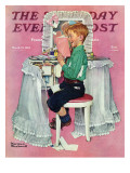 """Boy Reading his Sister's Diary"" Saturday Evening Post Cover, March 21,1942 Giclee Print by Norman Rockwell"