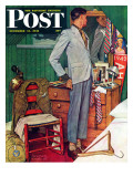 """Imperfect Fit"" Saturday Evening Post Cover, December 15,1945 Giclee Print by Norman Rockwell"
