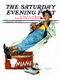 """Hitchhiker to Miami"" Saturday Evening Post Cover, November 30,1940 Reproduction procédé giclée par Norman Rockwell"