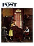 """Marriage License"" Saturday Evening Post Cover, June 11,1955 Giclée-Druck von Norman Rockwell"