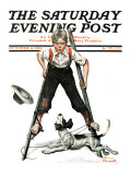 """Boy on Stilts"" Saturday Evening Post Cover, October 4,1919 Giclee Print by Norman Rockwell"