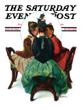 """Three Gossips"" Saturday Evening Post Cover, January 12,1929 Giclee Print by Norman Rockwell"