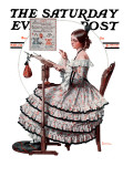 """Needlepoint"" Saturday Evening Post Cover, March 1,1924 Giclee Print by Norman Rockwell"