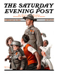 """When Johnny Comes Marching Home"" Saturday Evening Post Cover, February 22,1919 Giclee Print by Norman Rockwell"