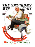 &quot;Gramps on Rocking Horse&quot; Saturday Evening Post Cover, December 16,1933 Giclee Print by Norman Rockwell