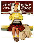"""Cover Girl"" Saturday Evening Post Cover, March 1,1941 Giclee Print by Norman Rockwell"