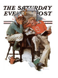 """Cramming"" Saturday Evening Post Cover, June 13,1931 Giclee Print by Norman Rockwell"