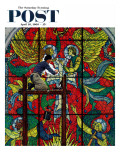 """Repairing Stained Glass"" Saturday Evening Post Cover, April 16,1960 Giclee Print by Norman Rockwell"
