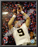 Drew Brees with the Vince Lombardi Trophy Super Bowl XLIV Prints