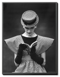 Woman Wearing Wide Shoulder Fashion Look Framed Canvas Print by Nina Leen