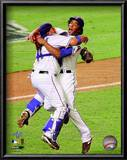 Bengie Molina &amp; Neftali Feliz Celebrate winning the 2010 ALCS Prints