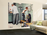 """Before the Shot"" or ""At the Doctor's"" Saturday Evening Post Cover, March 15,1958 Wall Mural – Large by Norman Rockwell"