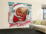 """Santa's in the News"" Saturday Evening Post Cover, December 26,1942 Wall Mural – Large by Norman Rockwell"