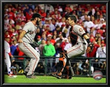Buster Posey & Brian Wilson Celebrate winning the 2010 NLCS Posters