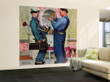 &quot;Plumbers&quot; Saturday Evening Post Cover, June 2,1951 Wall Mural  Large by Norman Rockwell