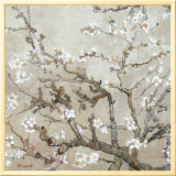 Almond Branches in Bloom, San Remy, c.1890 (tan) Framed Canvas Print by Vincent van Gogh