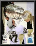Sidney Crosby Game 7 - 2008-09 NHL Stanley Cup Finals With Trophy Print