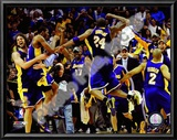 The Los Angeles Lakers celebrate Game Five of the 2009 NBA Finals Prints