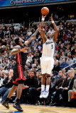 Miami Heat v Washington Wizards: Josh Howard and LeBron James Photographic Print by Greg Fiume