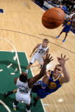 Golden State Warriors v Utah Jazz: Andris Biedrins and Al Jefferson Photographic Print by Melissa Majchrzak