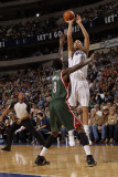 Milwaukee Bucks v Dallas Mavericks: Dirk Nowitzki and Larry Sanders Photographic Print by Danny Bollinger