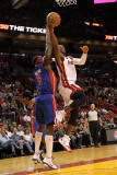Detroit Pistons v Miami Heat: Dwyane Wade and Ben Wallace Photographic Print by Mike Ehrmann
