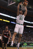 Portland Trail Blazers v Boston Celtics: Semih Erden and Rudy Fernandez Photographic Print by Elsa .