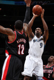 Portland Trail Blazers v Washington Wizards: Gilbert Arenas and LaMarcus Aldridge Photographic Print by Ned Dishman