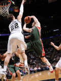 Milwaukee Bucks v San Antonio Spurs: Ersan Ilyasova and Tiago Splitter Photographic Print by D. Clarke Evans