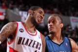 Minnesota Timberwolves v Portland Trail Blazers: Michael Beasley and LaMarcus Aldridge Photographic Print by Sam Forencich