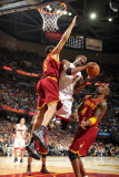 Miami Heat v Cleveland Cavaliers: Ryan Hollins, Antawn Jamison and Chris Bosh Photographic Print by Nathaniel S. Butler