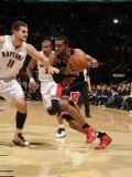 Chicago Bulls v Toronto Raptors: Linas Kleiza and C.J. Watson Photographic Print by Ron Turenne