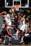 Miami Heat v Washington Wizards: Dwyane Wade, Hilton Armstrong and Nick Young Photographic Print by Greg Fiume