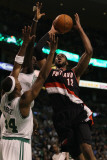 Portland Trail Blazers v Boston Celtics: LaMarcus Aldridge, Paul Pierce and Kevin Garnett Photographic Print by  Elsa