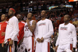 Detroit Pistons v Miami Heat: LeBron James, James Jones, Chris Bosh and Dwyane Wade Photographic Print by Mike Ehrmann