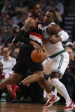 Portland Trail Blazers v Boston Celtics: LaMarcus Aldridge and Glen Davis Photographic Print by Elsa .