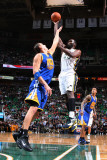 Golden State Warriors v Utah Jazz: Al Jefferson and Andris Biedrins Photographic Print by Melissa Majchrzak