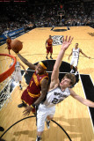 Cleveland Cavaliers  v San Antonio Spurs: Daniel Gibson and Tiago Splitter Photographic Print by D. Clarke Evans