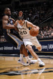 Memphis Grizzlies v San Antonio Spurs: Manu Ginobili and Sam Young Photographic Print by D. Clarke Evans