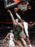 Milwaukee Bucks v San Antonio Spurs: DeJuan Blair and Ersan Ilyasova Photographic Print by D. Clarke Evans