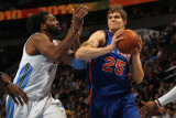 New York Knicks v Denver Nuggets: Timofey Mozgov and Nene Photographic Print by Doug Pensinger