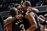 Miami Heat v Washington Wizards: LeBron James, Dwyane Wade and Chris Bosh Photographic Print by Greg Fiume