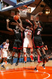 Miami Heat v New York Knicks: Raymond Felton, Joel Anthony and LeBron James Photographic Print by Nathaniel S. Butler